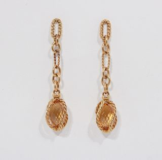 David Yurman 18 k and Citrine Drop Earrings