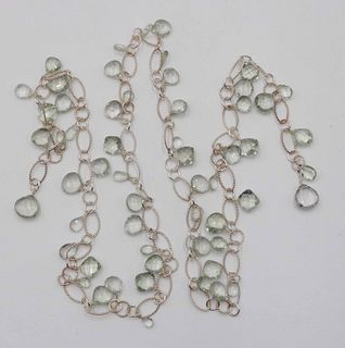 Sterling Silver Green Quartz Lariat Necklace