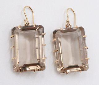 Pair of 14K & Emerald Cut Smoky Quartz Earrings