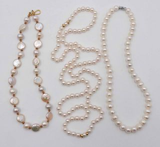 Contemporary Coin & Cultured Round Pearl Necklace