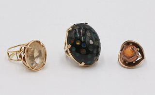 Three Yellow Gold and Gemstone Rings