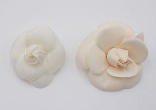 Channel White Silk Camellia Flower Brooch