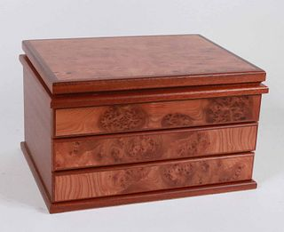 Agresti Burlwood Two Drawer Jewelry Case