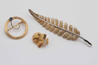 14k Gold Fern Form Pin