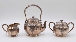 Chinese Silver Three Piece Teaset