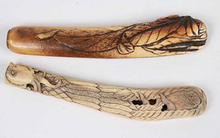 Two Japanese Carved Bone Inro
