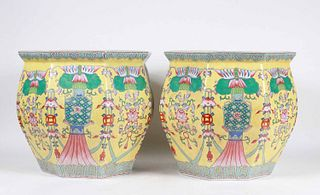 Pair of Chinese Famille Jaune Porcelain Planters