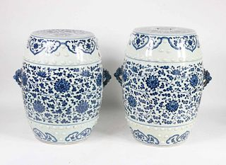 Pair of Chinese Blue and White Garden Seats