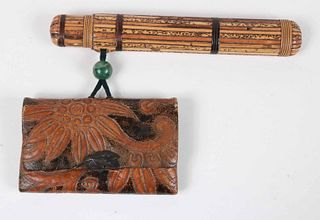 Japanese Tooled Leather Wallet and Reed Inro