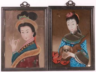 Pair of Chinese Eglomise Portraits of Women