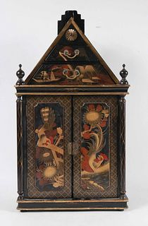 Japanese Parcel-Gilt Black-Lacquered Cabinet