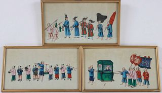 Three Chinese Watercolors on Silk of Processions
