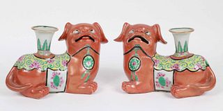 Pair of Chinese Porcelain Fu Dog Candlesticks