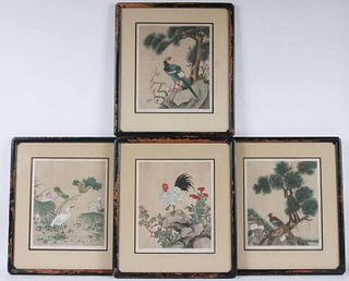 Four Chinese Watercolors on Fabric of Birds