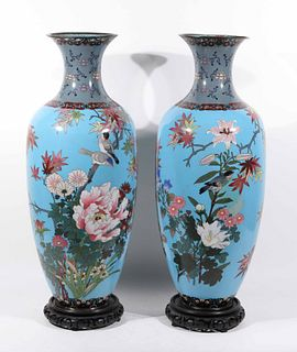 Pair of Chinese Cloisonne Baluster-Form Vases