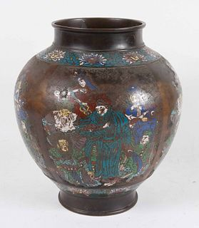 Chinese Cloisonne Figural-Decorated Vase