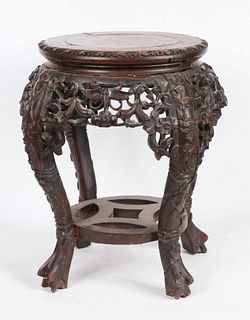 Chinese Stone-Inset Carved Hardwood Stand