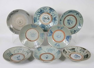 Eight Blue and White Glazed Chargers