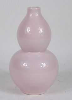 Chinese Pink-Glazed Double Ovoid Form Vase