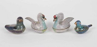 Four Chinese Cloisonne Bird-Form Boxes