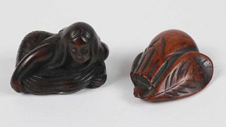 Two Carved Wood Netsukes