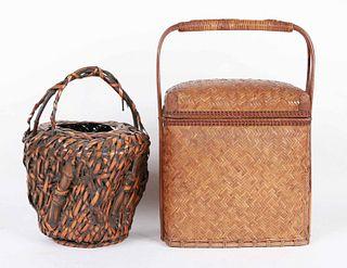 Two Asian Rattan Baskets