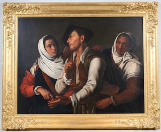 Oil on Canvas, Three Figures, Continental School