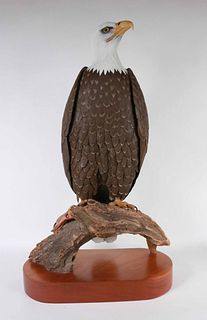 S.C. Clow, Painted Eagle and Trout Sculpture
