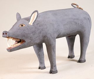 Leroy Archuleta, Carved and Painted Wild Boar