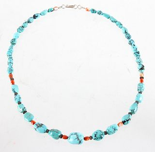 Navajo Silver Turquoise & Carnelian Necklace
