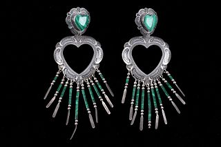 Navajo Q T Quoc Sterling Silver Malachite Earring