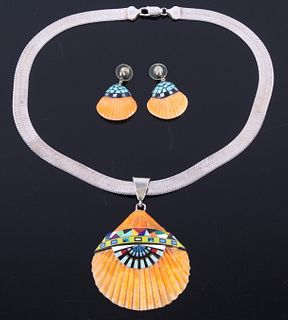 Zuni Spiny Oyster Micro-Inlay Necklace & Earrings
