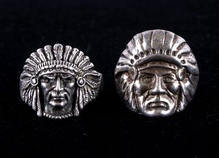 Two Navajo Sterling Silver Indian Chief Rings