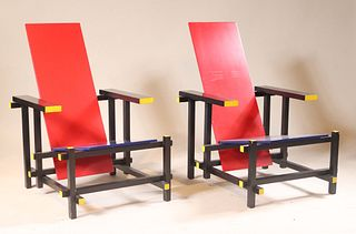 Pair of Chairs, After Gerrit Thomas Rietveld