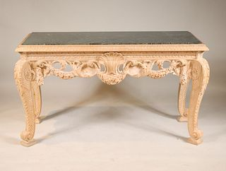 Rococo Style Beechwood Marble Top Console Table
