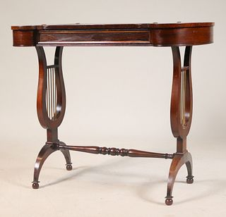 Regency Inlaid Mahogany Lyre End Game Table