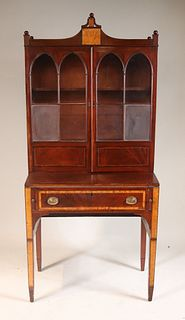 Federal Maple-Inlaid Mahogany Desk-and-Bookcase