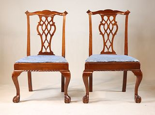 Pair of NY Chippendale Mahogany Chairs