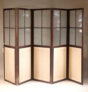 Victorian Glazed Mahogany Five-Panel Screen