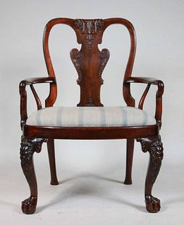 Rare George II Anglo-Chinese Huang Huali Armchair