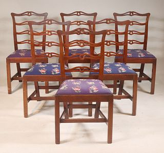 Six Chippendale Style Ribbon Back Side Chairs