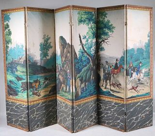 Six Panel Zuber Hand-Painted Wallpapered Screen