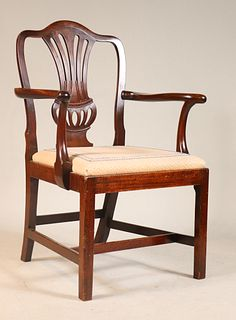 Chippendale Figured Mahogany Armchair