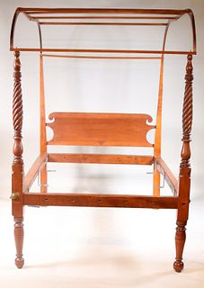 Federal Turned Maple and Pine Tester Bedstead