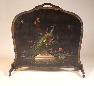 Peacock-Decorated Painted Leather Firescreen