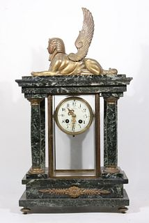 Egyptian Revival Style Marble Mantle Clock
