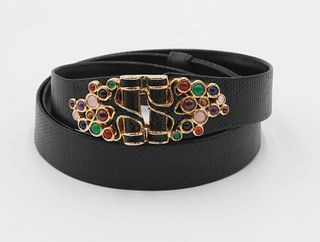 Judith Lieber Black Leather Belt