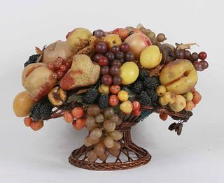 Large Wax Fruit Arrangement in Basket