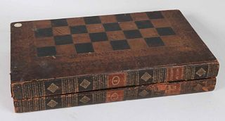 Gilt Leather Bound Book Form Games Board