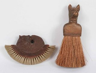 Black Forest Walnut Bear-Decorated Clothes Brush